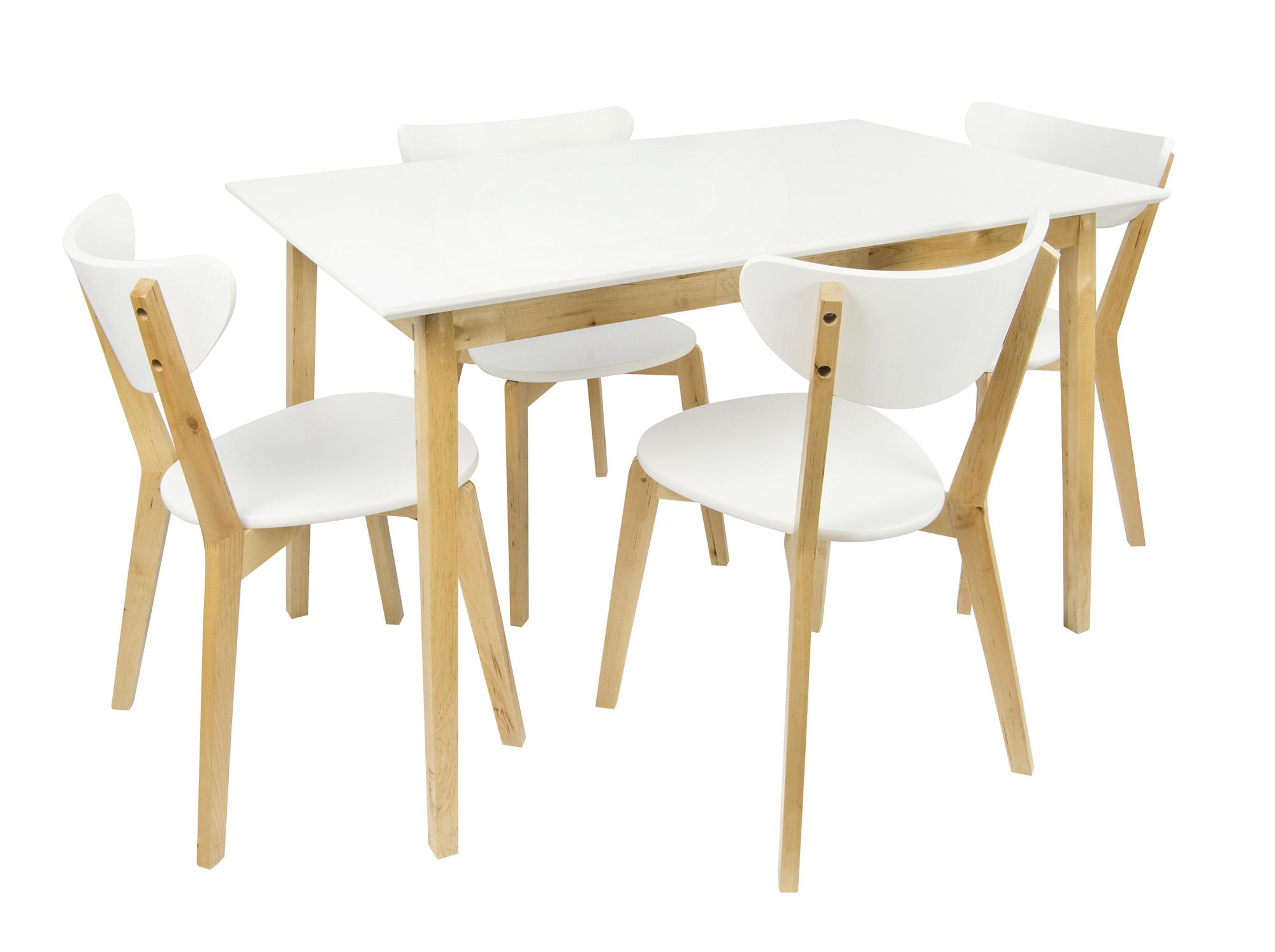 Table En Bois Naturel - Table en bois avec 4 chaises Naturel table a manger Leomark FR